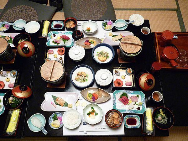 Kaiseki is a traditional Japanese multi-course dinner. It's the most fancy type of Japanese food. It comes in many tiny but aesthetically pleasing courses (up to a dozen). Kaiseki tends to push the limits of exotic food. Often Japanese customers can't identify everything in a kaiseki meal. Many traditional Japanese ryokan serve kaiseki. As you can imagine kaiseki can be pricey.