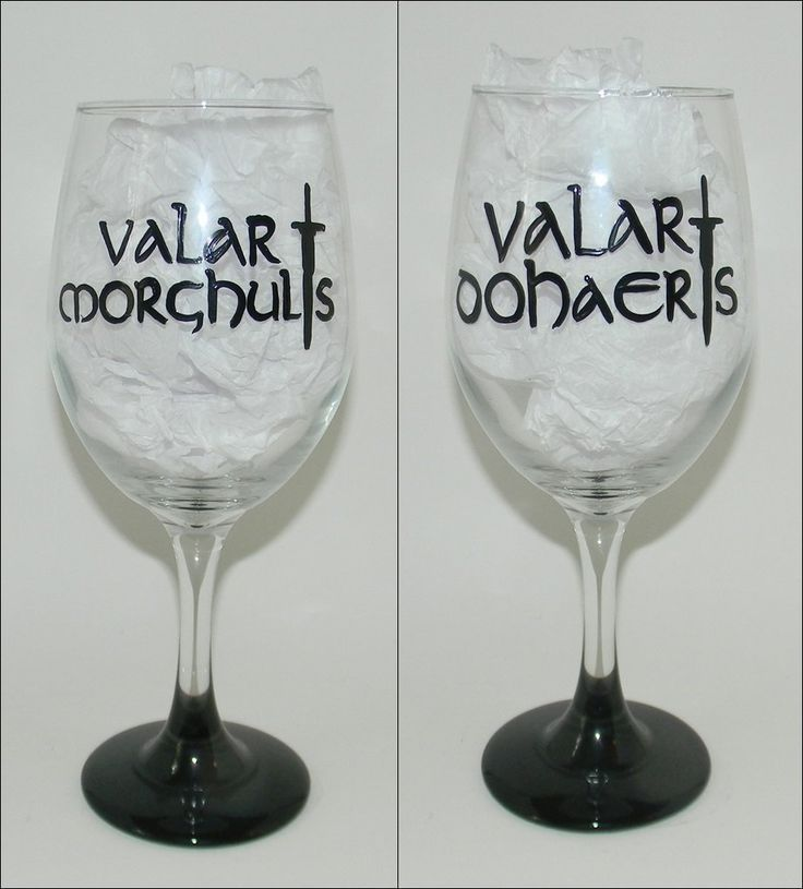 "Game of Thrones wine glass. Hand painted 20 ounce wine glass that says ""Valar Morghulis"" on one side and ""Valar Dohaeris"" on the other side from Game of Thrones. The bottom of the base is painted to match. Each one of my glasses is hand painted, no stickers or vinyl are used, and they are hand wash only. Because of the nature of each glass being hand painted, lines may vary from glass to glass, and color may vary from different screen resolutions. Please don't hesitate to contact me with…"