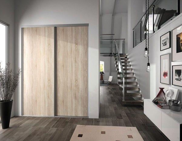 Porte de placard coulissante chêne clair H. 247,5 x L. 92,2 cm - FORM