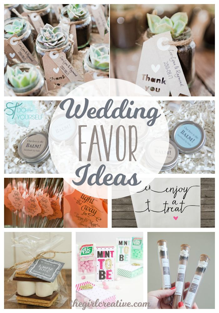 Wedding Favor Ideas for a DIY  wedding or a wedding on a budget. These are all budget friendly wedding favors.