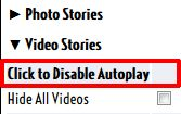 Stop videos playing AUtomatically on Facebook with FB Purity's Disable Autoplay option