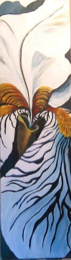 Black and White Iris  Acrylic on canvas  4 ft by 12 inches