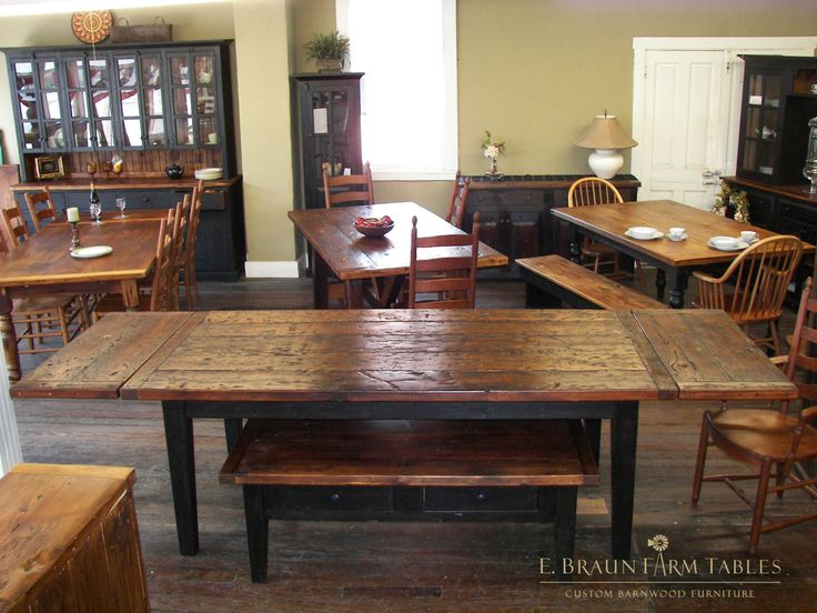 reclaimed barn wood tables - crafted by E. Braun Farm Tables and Furniture™  - - 270 Best Farm Tables - Reclaimed Barn Wood Images On Pinterest