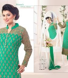 Buy Green net embroidered semi stitched salwar with dupatta pakistani-salwar-kameez online
