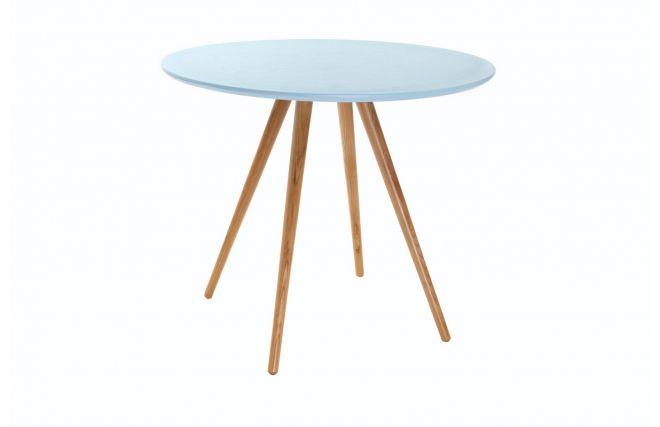 Tavolo da pranzo Rotondo  piedi Frassino ripiano color blu chiaro - ARTIK - Zoom