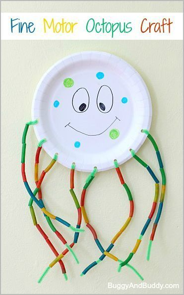 Paper Plate Octopus summer craft for kids. Provides fine motor and counting practice | Buggy and Buddy