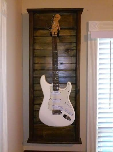 Hand Made Guitar Wall Mount Display Case & Hanger / Dark Walnut Stain   Reverb