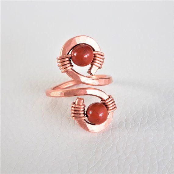 Handmade Jasper Bead Wire Ring