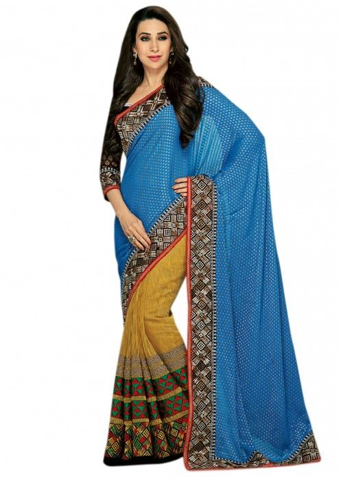 $163 A half half saree in blue viscose butti and half in mustard khadi silk . It has reaham and zari embroider at the border in geometric shape. It blouse is in black raw silk and the sleeve is in viscose. 95% of our customers believe that the product is as shown on the website. More Detail Color - Blue, Mustard Fabric - Khadi silk Shipping Time (Days) - 15 Size - Free Work - Resham, Zari