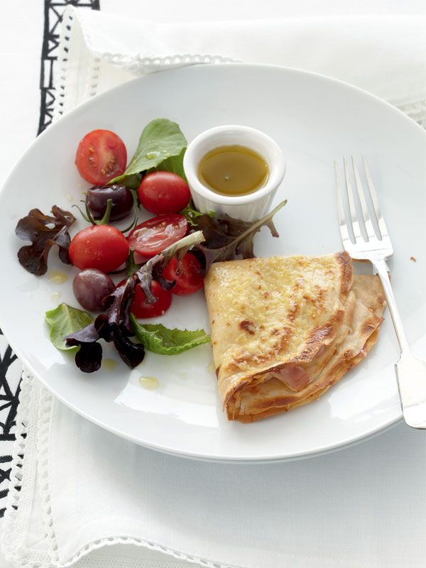 Savoury Ham Crêpes With Salad