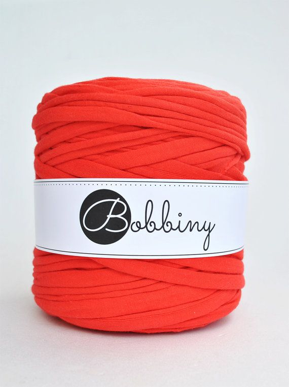 T shirt yarn recycled cotton 131yd / 120m long Tomato by Bobbiny, $9.00