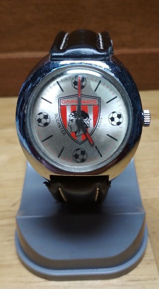 Vintage Advertising Rare Olympiakos Mechanic Watch by Sodinter 17 Rubis