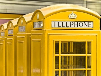 Yellow phone booths