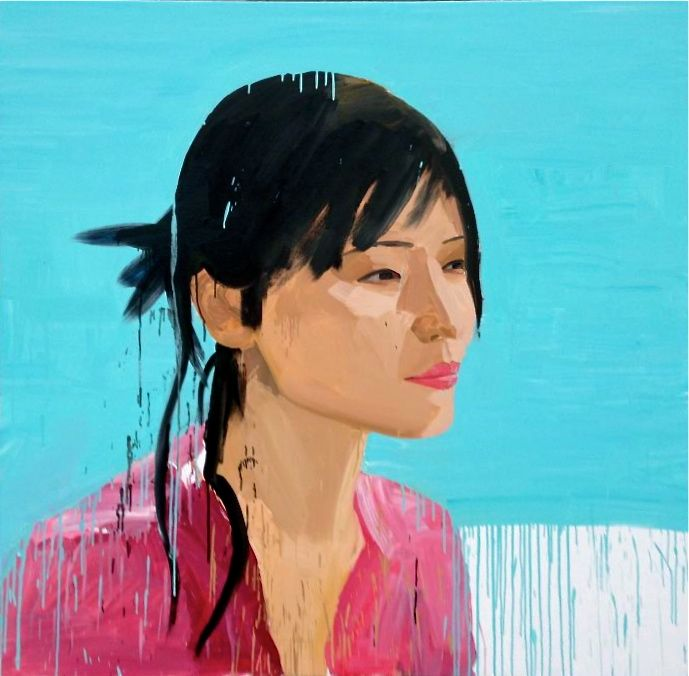 Zhong Chen - Beijing Girl 2013 - 137 x 137cm, Acrylic on canvas