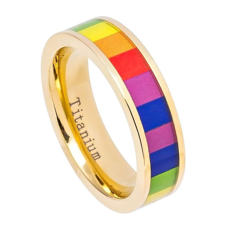 6MM Yellow Gold IP Plated Pipe Cut Titanium Ring with Rainbow Colored Gay Pride Inlay
