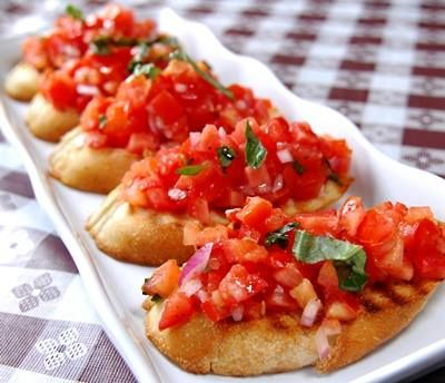 Try: Top lightly grilled slices of our oven fresh Baguette with diced tomatoes, basil, garlic, olive oil, salt & pepper for a quick appetizer.