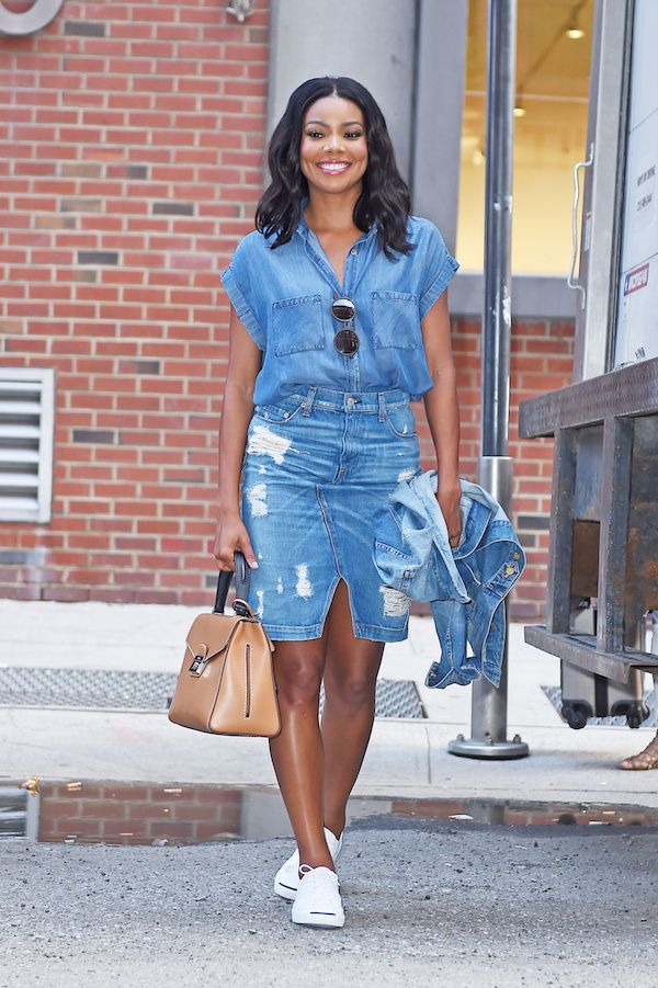 Gabrielle Union looked quite stunning in a denim on denim ensemble paired with white sneakers