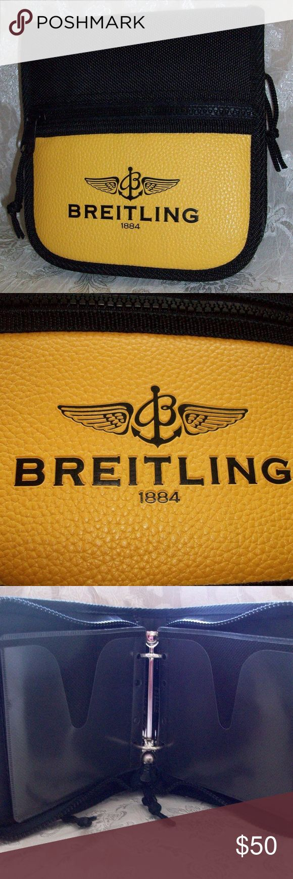 """Men's Breitling DVD or CD Holder Mint! This is a brand new Breitling DVD or CD case. A genuine product made specially for Breitling with the flying """"B"""" logo, """"BREITLING"""" and """"1884"""" on the pebbled yellow finish on the front.  Black with yellow 12 binder-style pages to hold 24 DVD's or CD's. Made of durable vinyl and with a  zip pouch on the front and a net holder compartment inside the front.  Measures over 6 1/2"""" inches by over 7 inches and over 1.5 inches empty. Brand new and never used nor…"""