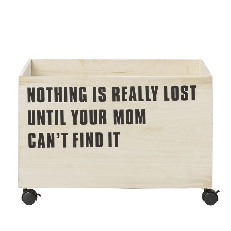 Bloomingville Storage Box with Wheels: Bring precious design into your little one's room with the natural wooded storage box with rollable black wheels and the text 'Nothing Is Really Lost Until Your Mom Can't Find It' in black engraved on the front. It is ideal for cosy blankets or toys.