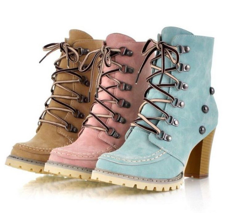new womens lace up rivets ankle knight boots platform high heel shoes plus size #New #FashionAnkle