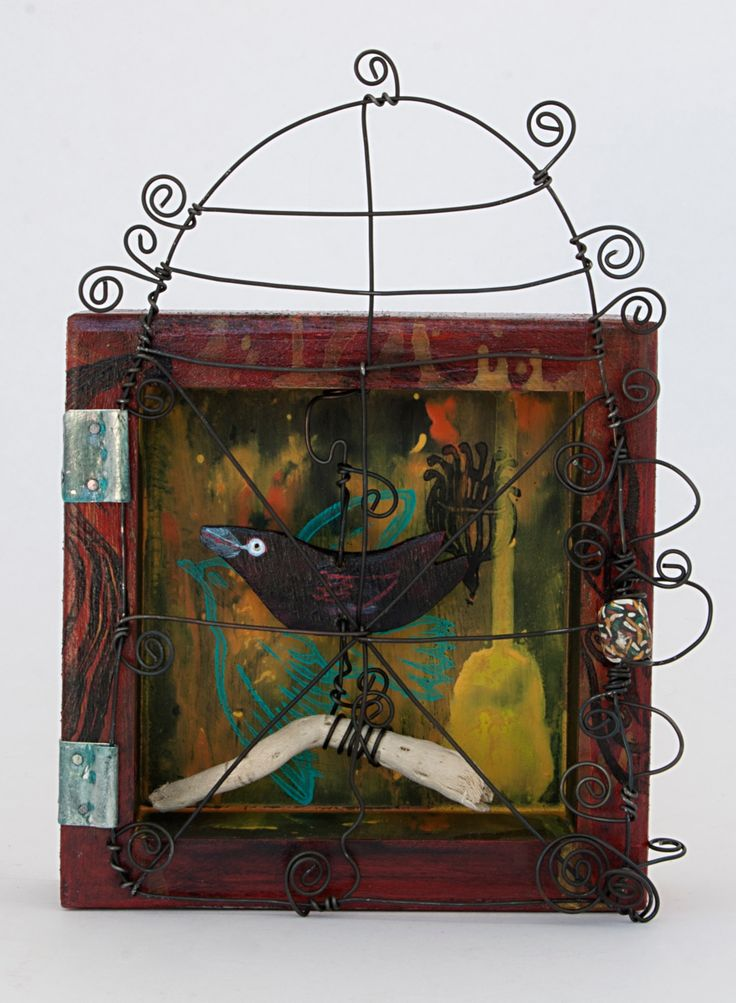 Atelier de Joie Raven Curio, created from found objects, ceramic beads, block prints, UV Varnish tin & wire