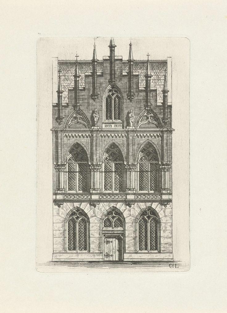 Cornelis Johan Laarman | Gotische gevel met zeven pinakels, Cornelis Johan Laarman, 1854 - 1889 | Vooraanzicht van een gotisch huis met zeven pinakels.