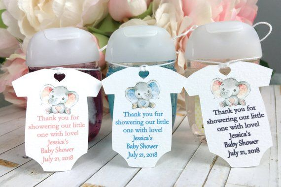 Elephant Baby Shower Favor Tag Baby Shower Thank You Tag Hand