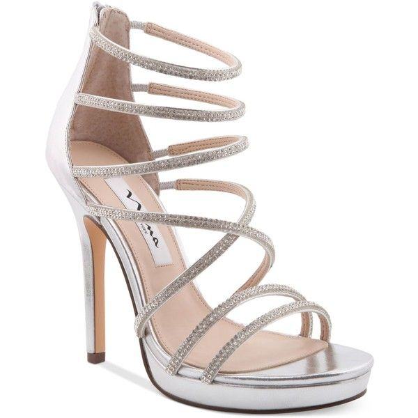 Nina Finessa Strappy Evening Sandals ($119) ❤ liked on Polyvore featuring shoes, sandals, silver, platform sandals, strappy dress sandals, silver shoes, dress sandals and platform dress sandals