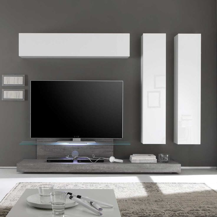 Design Wohnwand Annica in Weiß Hochglanz Eiche Grau (4-teilig)