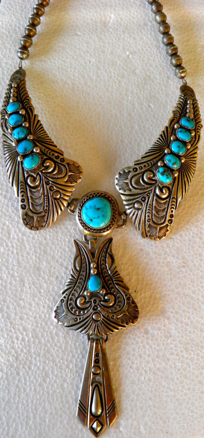 Navajo Sterling Silver Sleeping Beauty Turquoise Necklace By Tom Ahasteen