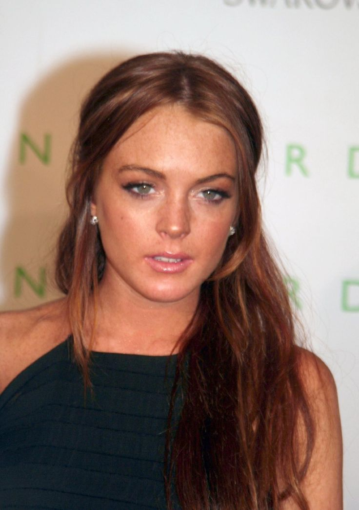 Lindsay Lohan red hair black dress pink lips