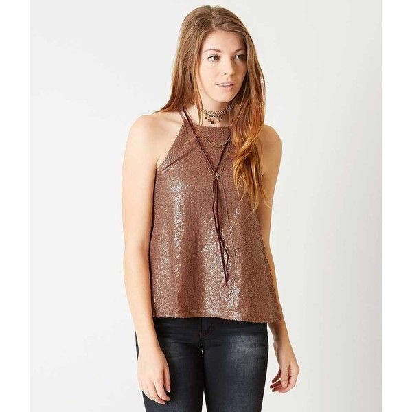 Coco + Jaimeson Sequin Tank Top - Copper/Gold Large ($35) ❤ liked on Polyvore featuring tops, sequined tanks, white high neck tank top, white top, gold sequin tank top and sequin top