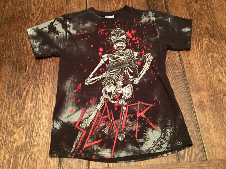 Vintage Concert Tee Shirt  / RARE Slayer All Over T Shirt  / 90s Vintage Heavy Metal Death Metal Slayer Shirt / Metalica, Pantera, Danzig by HippieGypsyBoutique on Etsy