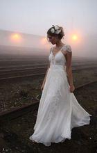 aangepaste 2015 edele strand ivoorwit trouwjurken bruids toga grootte: 2/4/6/8+++ 1-0231(China (Mainland))