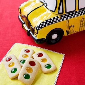 stop light cookies.  Could use M&M's (or Skittles etc) for lights and use PB or icing to help them stick to the cookie