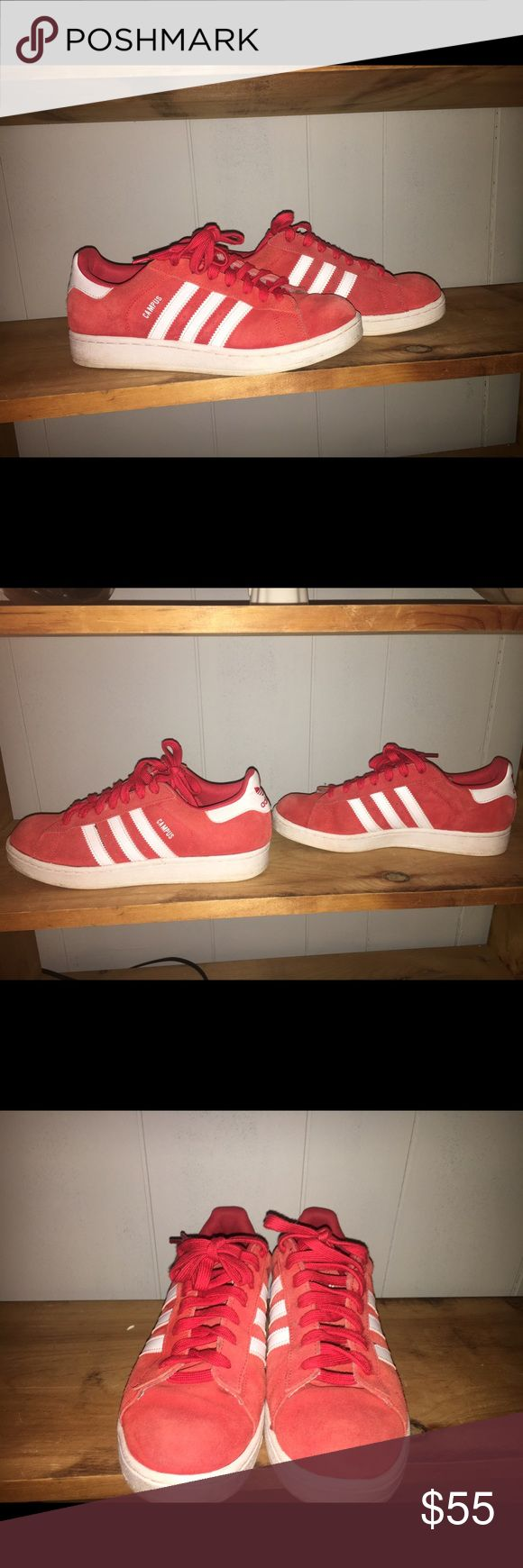 Red Adidas Superstar Campus Shoes These are a size 8 in men and about a 9 1/2 in women's. They are in fair condition with some flaws. With a few good cleanings could take away some of those flaws. Comment with any questions! Adidas Shoes Sneakers