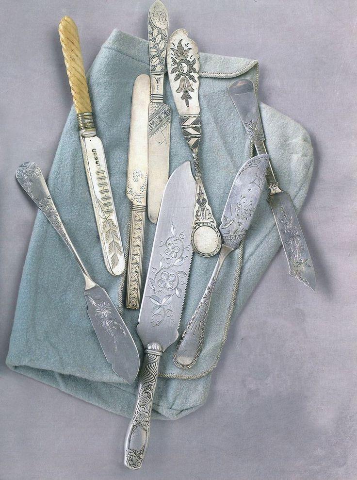 Engraved antique silver serving pieces...