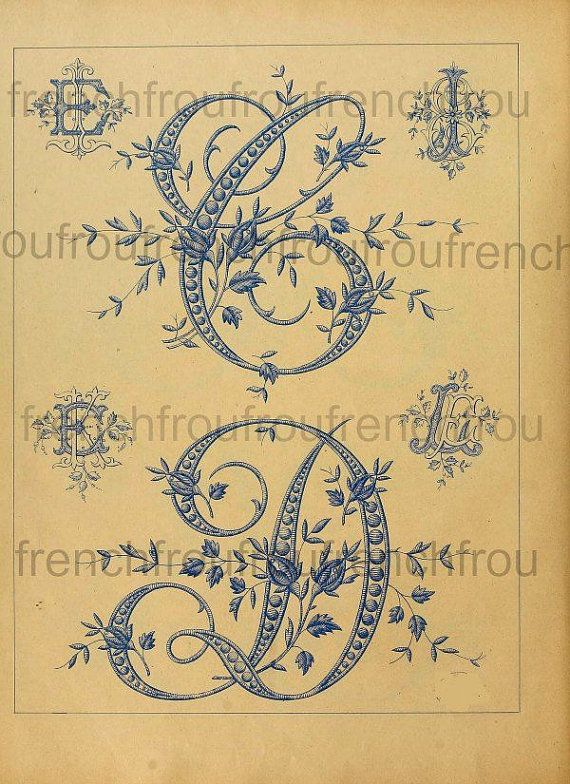 Antique Complete Victorian French Alphabet Rosebuds