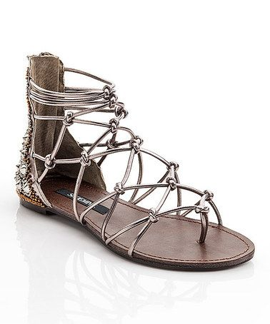 Pewter Foil Susan Gladiator Sandal #zulily #zulilyfinds