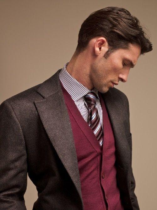 Brown and burgandy #fashion // #men // #mensfashion
