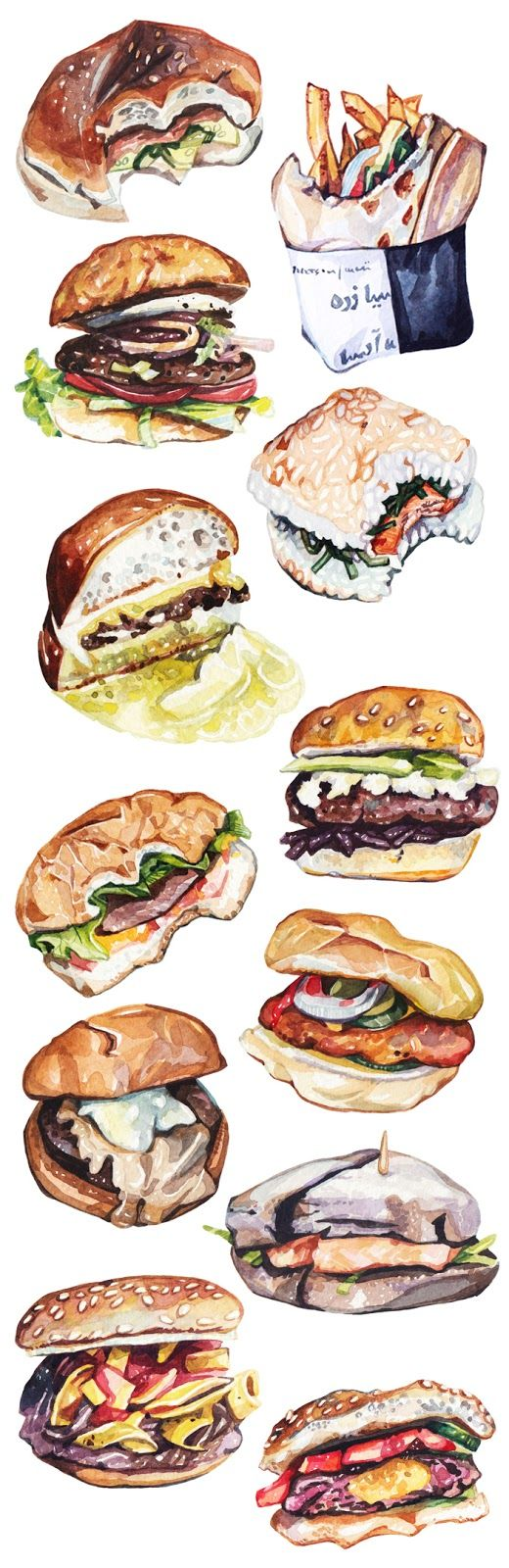 Watercolour Illustrations - Holly Exley Illustrator: BURGERS BURGERS BURGERS BURGERS | Watercolour Illustrations