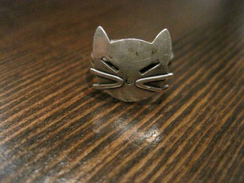 19 Vintage Designer Quot Beau Quot Sterling Silver Cat Face Ring