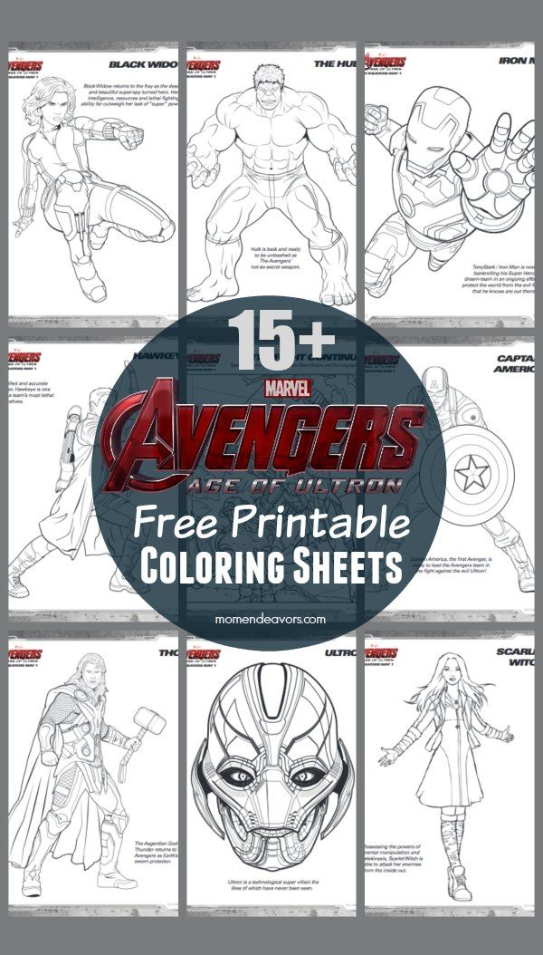 15 Free Printable Avengers: Age of Ultron Superhero Coloring Pages