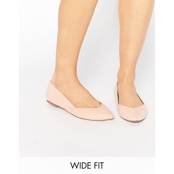 ASOS LUCY Wide Fit Ballet Flats ($30) ❤ liked on Polyvore featuring shoes, flats, beige, ballet pumps, beige flats, wide shoes, ballet shoes and pointy toe ballet flats