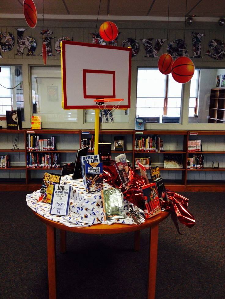 March Madness Library Display on March Madness Library Bulletin Board