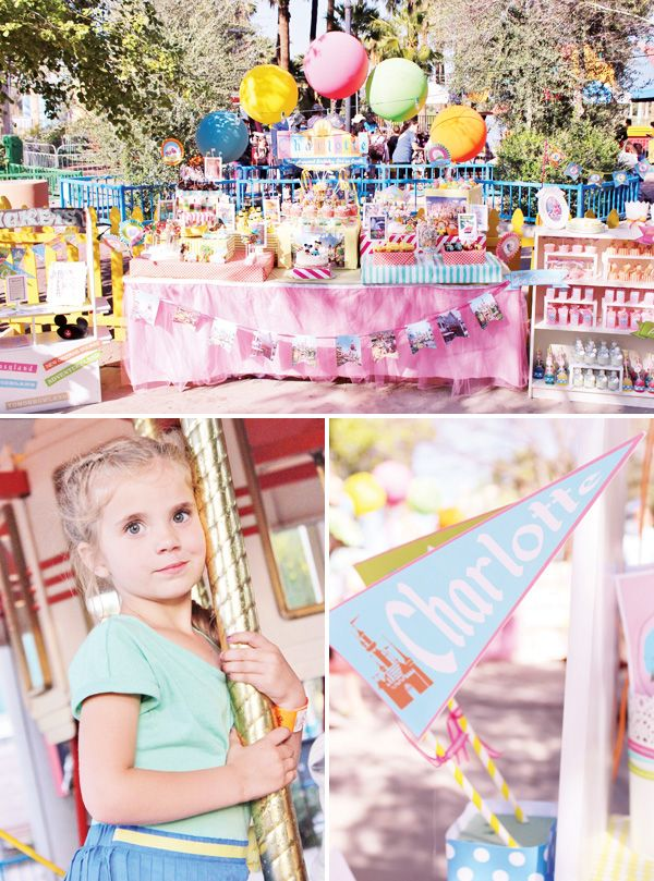 "Vintage Disney World Party! - My first thought is --- this is a bit ""over the top"" and probably not many of us could pull something like this off.  But ... there are some creative touches here that we might be able to use ... and it's definitely very creative!"