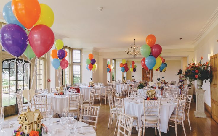 Balloon table centres. Photography by Mark Leonard Photography #up #disney #wedding