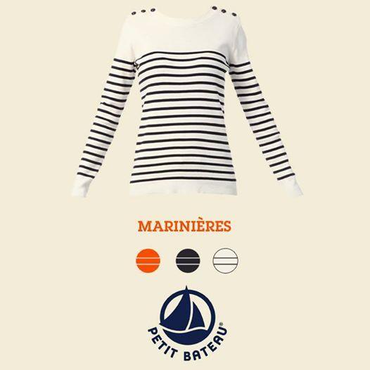 Pull Monshowroom, craquez sur le Pull marinière avec boutonnage épaules Marino Blanc / Ecru Petit Bateau prix promo Monshowroom 95.00 €