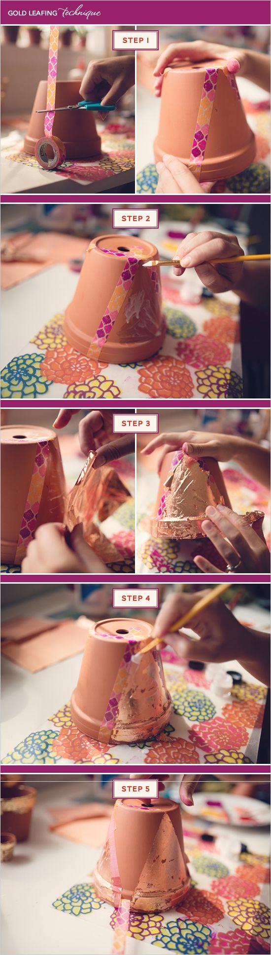 How to apply gold leaf to your own terra cotta pots. #stepbystep #goldleaf #doityourself http://www.weddingchicks.com/2013/10/31/diy-terra-cotta-pots/