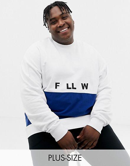 8e218ea8a2e COLLUSION Plus mixed fabric printed sweatshirt in blue and white ...